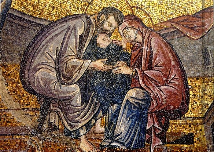 The Nativity of the Most Holy Theotokos. The Caressing of Mary. Mosaic in Chora Monastery in Constantinople, 14th C.