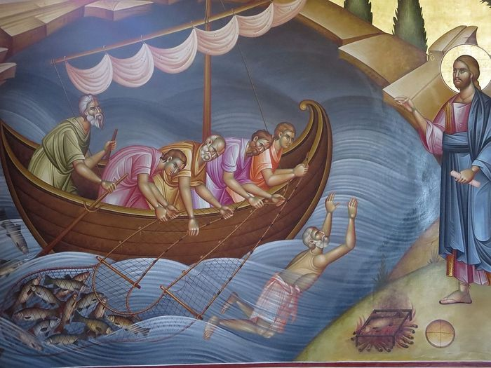 Fresco of the Miraculous Catch of Fish, and Peter swimming to shore, in the Greek Orthodox Church in Capernaum, Galilee. Photo: Pilgrim Pat
