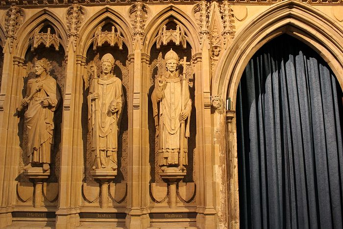 Statues from left to right of Sts. Ethelbert, Justus and Paulinus at Rochester Cathedral (photo kindly provided by the cathedral's Research Guild)
