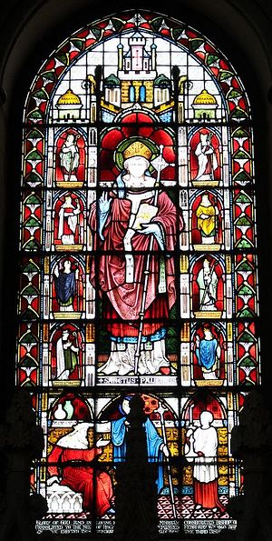 The stained glass window of St. Paulinus at Rochester Cathedral, Kent (photo kindly provided by the cathedral's Research Guild)