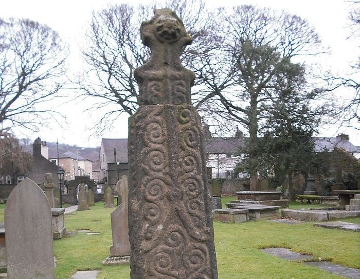 One of the Saxon crosses at Whalley churchyard, Lancs
