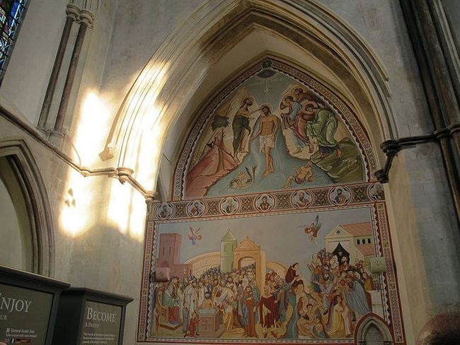 The Orthodox fresco of baptism at Rochester Cathedral (source - Stephen Craven from Geograph.org.uk)