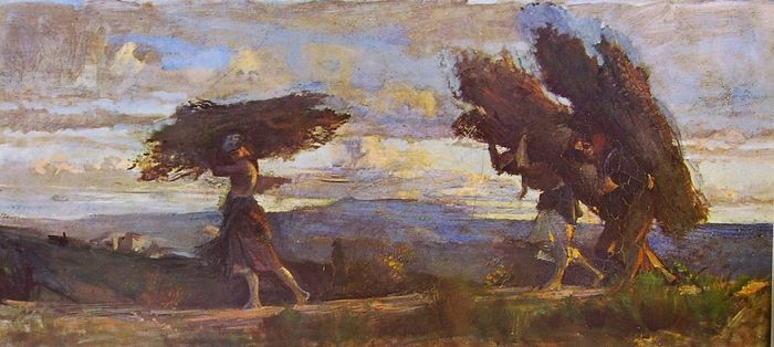 Cristiano Banti. Boscaiole con fascine. 1883