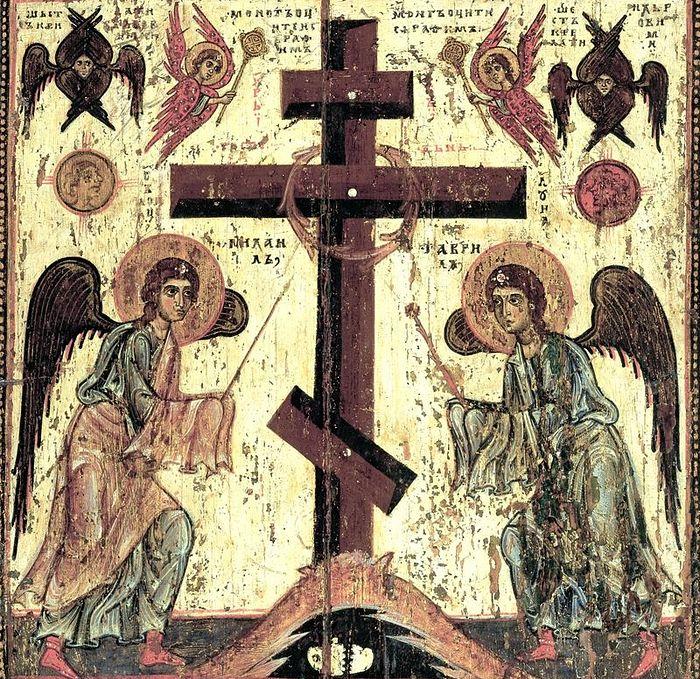 Поклонение кресту. Оборотная сторона иконы «Спас Нерукотворный». Русь. XII век