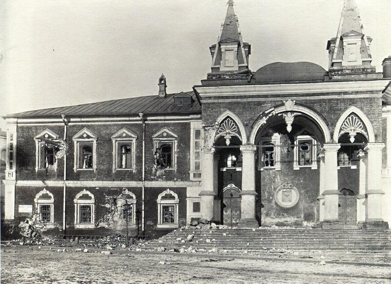 Москва, Кремль, 1917 год. Фасад Чудова монастыря, разбитый красной артиллерией