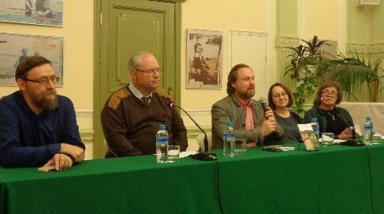 A panel discusses the publication of the Russian translation of The Superstition of Divorce. Adam Strock is seated second from the left. Photo: blagovest-info.ru