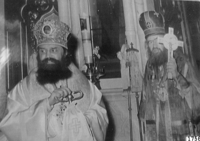 Vladyka Anthony (Bartoshevich: 1910-1993; to the left) after his consecration as Bishop of Geneva by a group of bishops presided by Archbishop John (Maximovitch) of Western Europe (to the right). Geneva,1957.