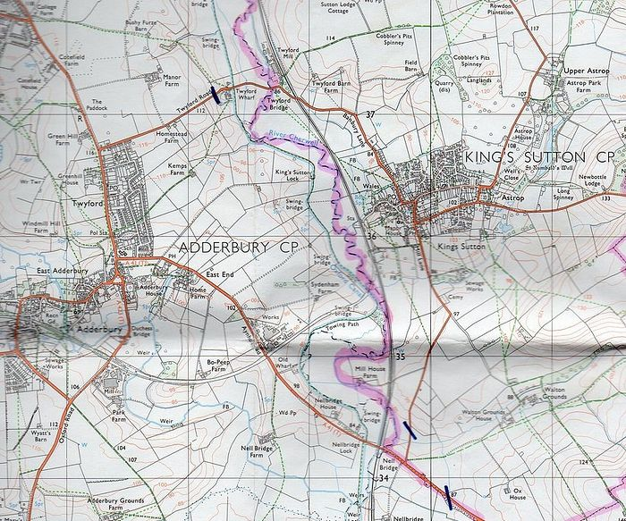 An older ordnance survey map of Kings Sutton and surroundings where St. Rumwold's well was still indicated (the image provided by the vicar of Kings Sutton)