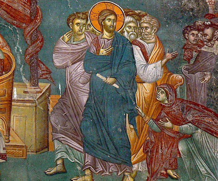 Исцеление кровоточивой жены. Фреска церкви Св. Никиты в Чучере, Македония. Около 1316