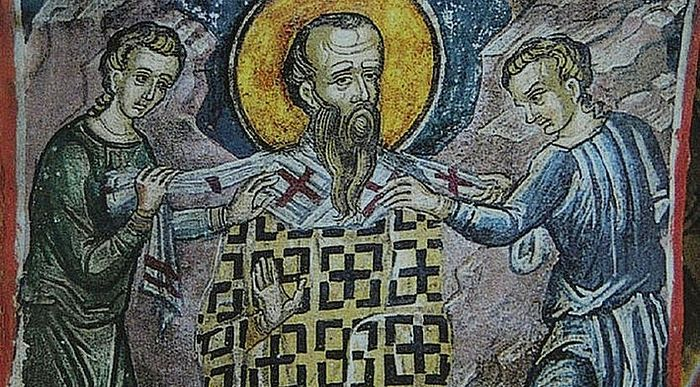 St. Paul, Archbishop of Constantinople being strangled with his own omophorion