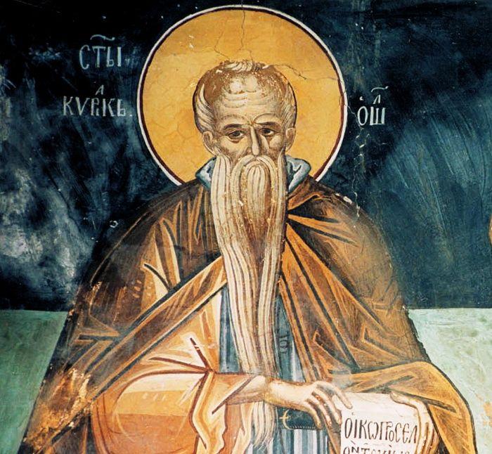 Преподобный Нил Синайский. Фреска монастыря св. Павла. Афон