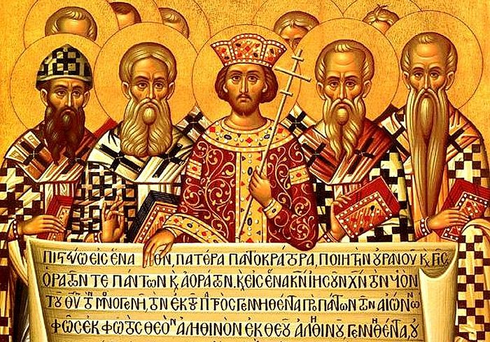 An Icon depicting the Emperor Constantine, accompanied by the bishops of the First Council of Nicaea (325), holding the Niceno–Constantinopolitan Creed of 381.