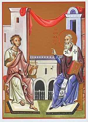 Архимандрит Зинон (Теодор) в своей миниатюре запечатлел знаменитый стихотворный диалог святителя Филарета с Пушкиным
