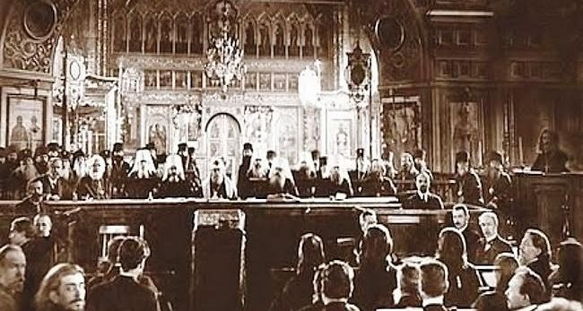 St. Tikhon at the All-Russian Council after his election as Patriarch of Moscow in 1917.