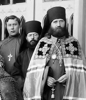 St. Tikhon with [from left] Sts. John Kochurov and Sebastian Dabovich during visit to Midwest.