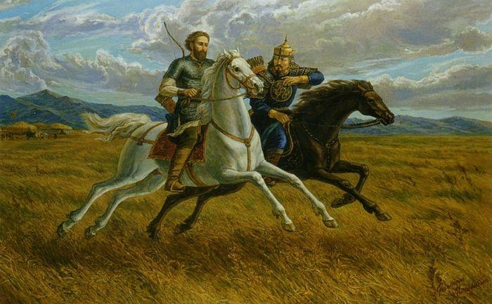 Св. князь Александр Невский и его побратим Сын Хана Батыя Сартак. Худ. Ф. Москвитин.