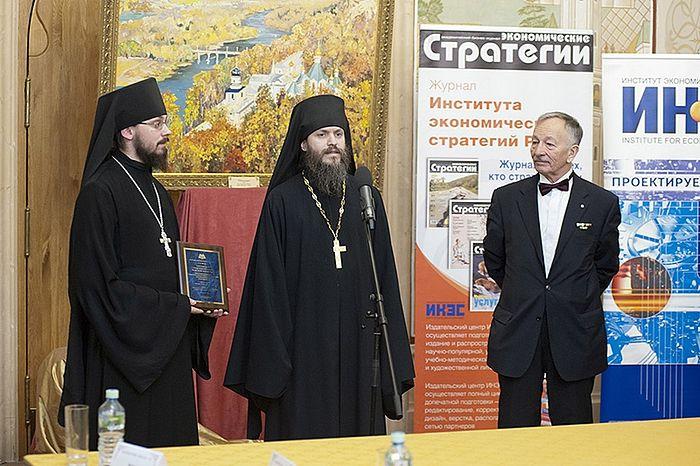 Иеромонахи Афанасий и Иоанн на вручении Национальной премии