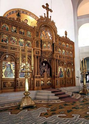 The interior of the Church of St. Nektarios