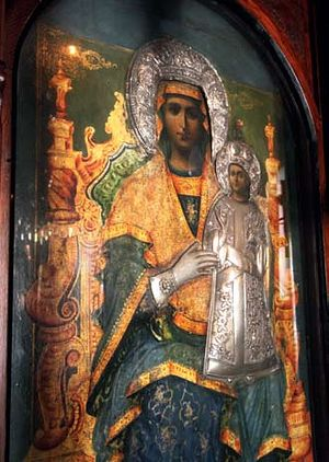 The icon of the Mother of God on the iconostasis in the Church of the Holy Trinity—one of the churches of Paleochora