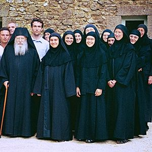 Fr. Placide (Deseille) with the abbess and sisters of the Holy Protection Convent of Solan.