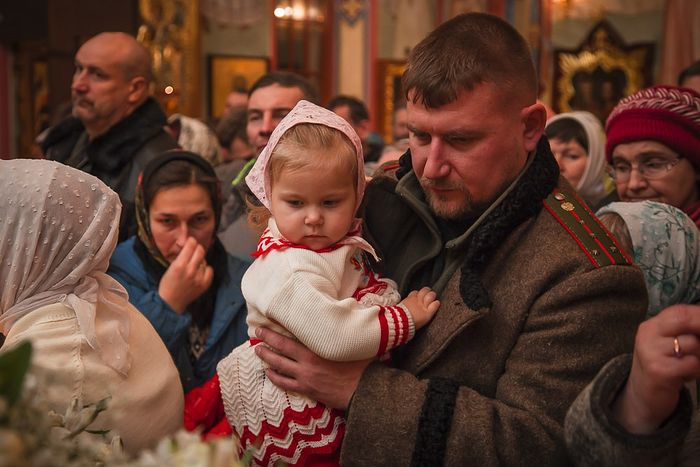 At the Nativity service in Diveyevo.