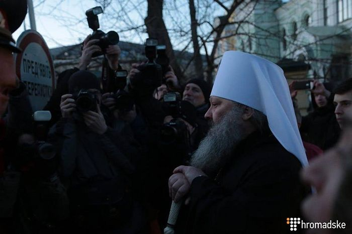 The abbot of the Kiev-Caves Lavra speaks with the aggressive nationalists.