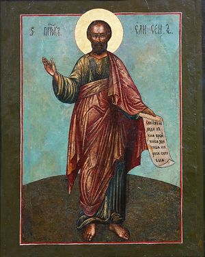 An ancient icon of the prophet of God Elisha, before which prayed the elder's aunt, who raised him