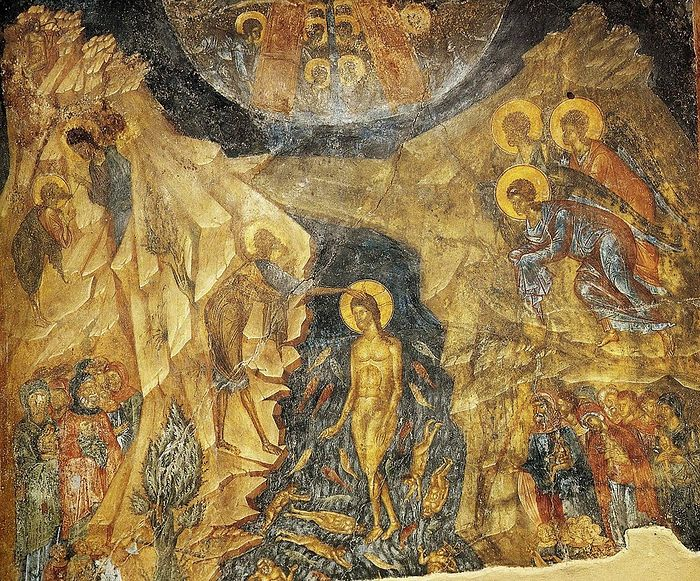 The Baptism Of The Lord. Mystras. Church of the Mother of God of Peribleptos, XIV C.