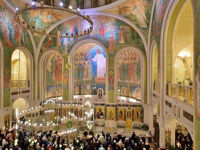 Богослужение в Сретенском монастыре в Навечерие Богоявления