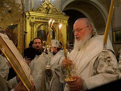 В канун праздника Крещения Господня Патриарх Кирилл совершил всенощное бдение в Богоявленском кафедральном соборе в Елохове