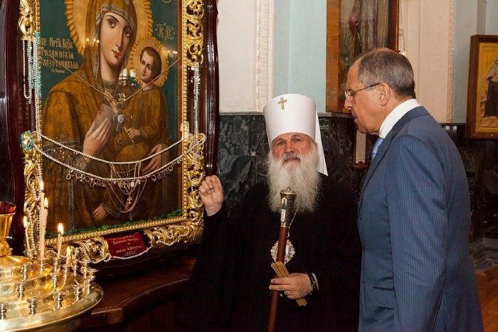Викентий, митрополит Ташкентский и Узбекистанский, с С.В. Лавровым