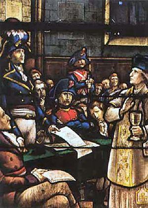 Католический священник Ноэль Пино перед судом французского революционного трибунала. Ноэль Пино отказался принять революционную присягу Конституции и новой власти, продолжал тайно служить мессы и совершать таинства для верных. Был предан одним из прихожан, арестован республиканскими властями и казнён, отказавшись отречься от веры и сана