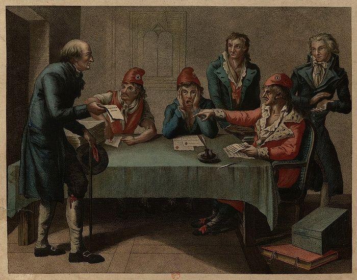 Бывший католический священник, признавший новую республиканскую власть. Французский эстамп, 1790-е гг., из фондов «Bibliotheque nationale de France»
