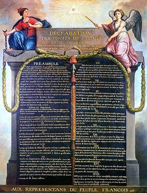 Изображение стелы с текстом «Декларации прав человека и гражданина»