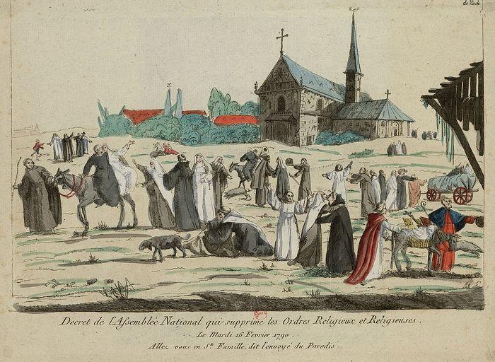 Насмешливое республиканское изображение 1790 года неверных своим клятвам католических монахинь и монахов, радующихся наступившей «свободе» от их обетов после декрета о запрете монастырей