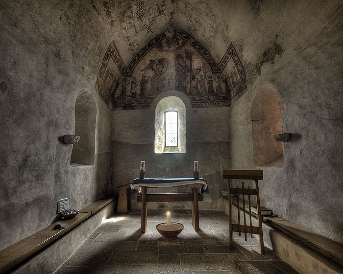 Inside the Fishermen's Chapel at St. Brelade, Jersey