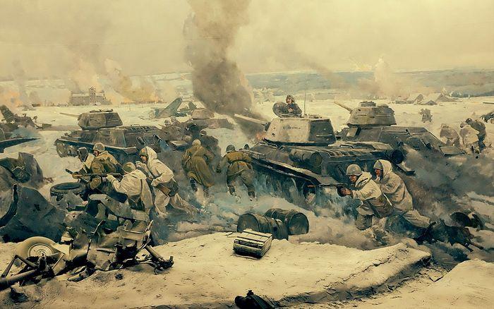 Фрагмент диорамы «Сталинградская битва» в музее города Волгограда