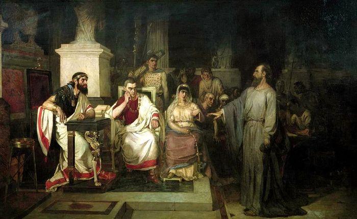 Апостол Павел объясняет догматы веры в присутствии царя Агриппы, сестры его Вероники и проконсула Феста (1875)