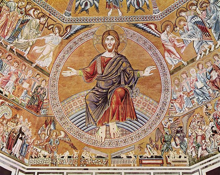 Christ the Pantocrator and the Last Judgment, 1300. Mosaic in the baptistry of San Giovanni, Florence, Itary. Photo: Wikimedia Commons