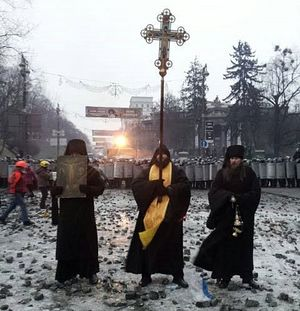 The brothers of the Tithes Monastery in the tragic days of the so-called Maidan Revolution.