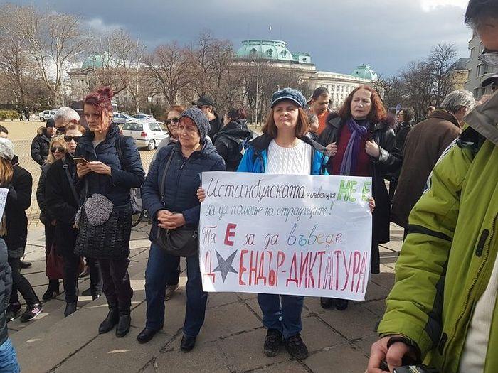 Протестная акция в столице Софии перед зданием Парламента
