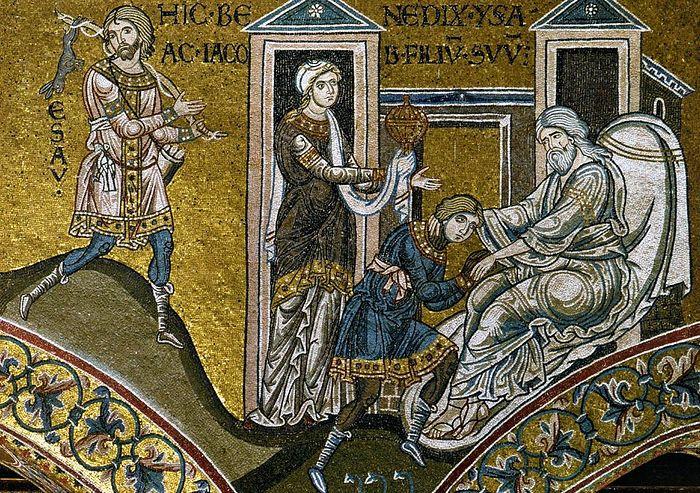 Исаак благословляет Иакова. Собор Монреале. Сицилия. Мозаика. XII век.