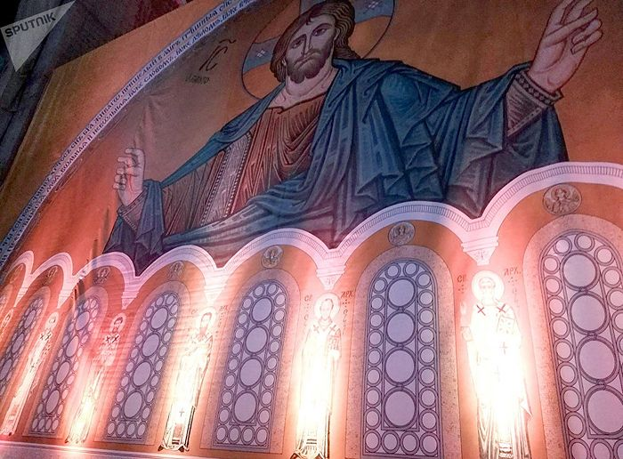 Убранство белградского храма Cвятого Саввы. 22 февраля 2018. Фото: Sputnik