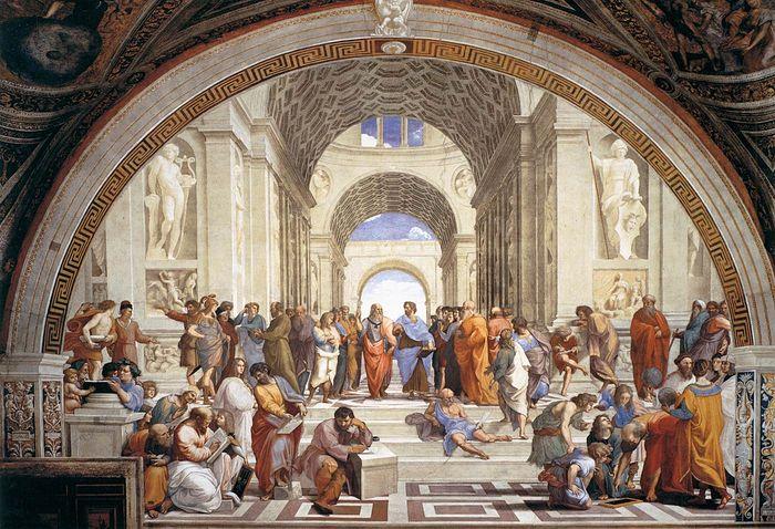 Рафаэль. Афинская школа, 1509. В центре изображены Платон и Аристотель