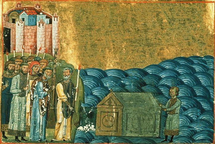 Обретение мощей священномученика Климента, папы Римского близ Херсонеса. Миниатюра из Менология императора Василия II.