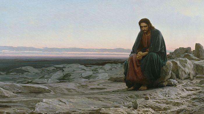Christ in the Desert. Painting by artist Ivan Kramskoi. 1872