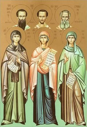 The Holy Hierarchs Basil the Great, John Chrysostom and Gregory the Theologian (from left to right) with their righteous mothers, Sts. Emmelia, Anthousa, and Nonna.