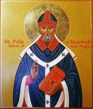 An icon of St. Felix of East Anglia