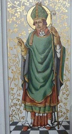 Depiction of St. Felix on the screen of St. Andrew's Church in Great Ryburgh, Norfolk (provided by the churchwarden of Great Ryburgh church)