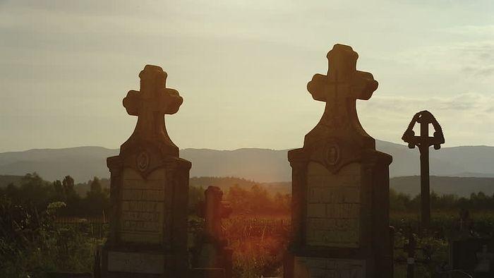 Silhouettes of crosses in a Romanian cemeteryTransylvania